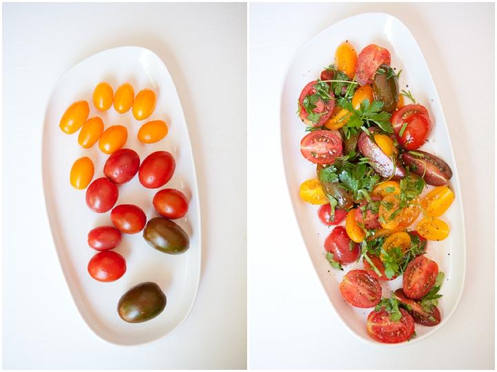 Zucchini Fritter Stack & Heirloom Tomato Salad